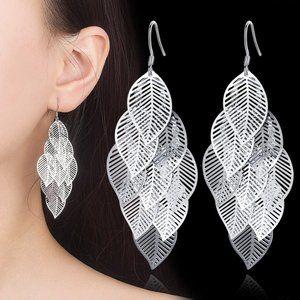 Jewelry - NEW 925 Sterling Silver Leaf Drop Earrings